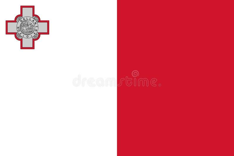 Bandera de Malta en colores oficiales y con la relación de aspecto de 2:3 libre illustration