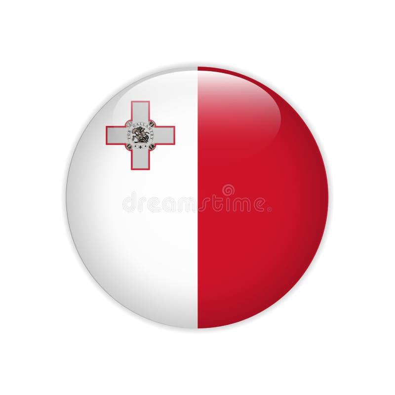 Bandera de Malta en el botón ilustración del vector