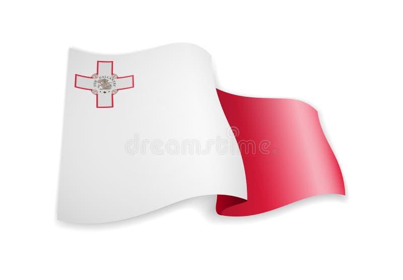 Bandera de Malta en el viento Bandera en el ejemplo blanco del vector ilustración del vector