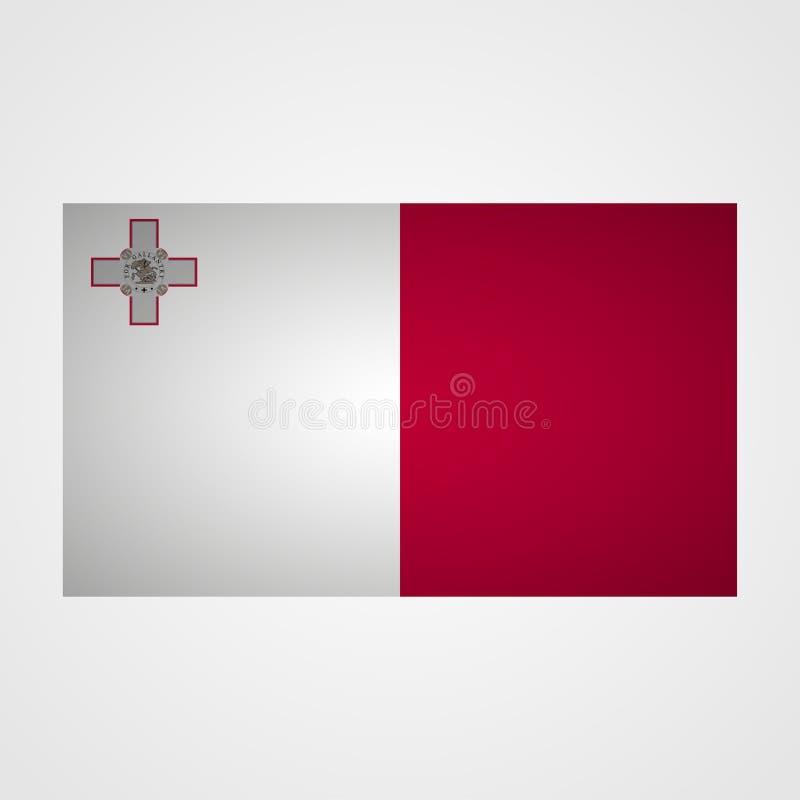 Bandera de Malta en un fondo gris Ilustración del vector libre illustration