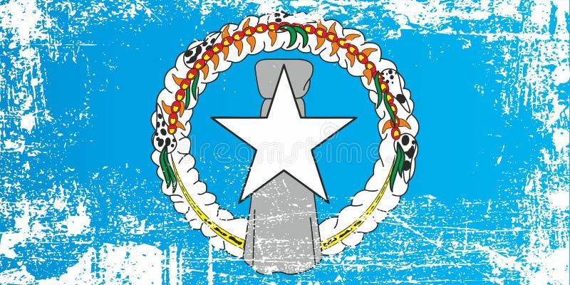 Bandera de Mariana Islands septentrional, los Estados Unidos de América Puntos sucios arrugados imágenes de archivo libres de regalías