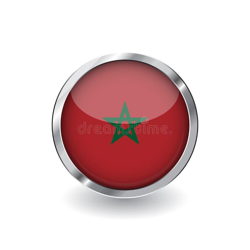 Bandera de Marruecos, botón con el marco metálico y la sombra icono del vector de la bandera de Marruecos, insignia con efecto br libre illustration
