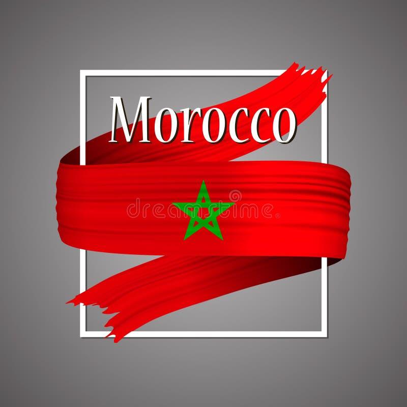 Bandera de Marruecos Colores nacionales oficiales Cinta realista marroquí de la raya 3d Fondo de la muestra del icono del vector stock de ilustración