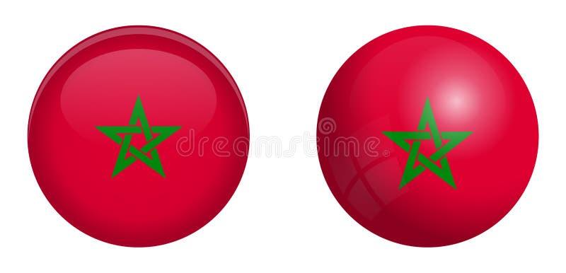 Bandera de Marruecos debajo del botón de la bóveda 3d y en esfera/bola brillantes libre illustration