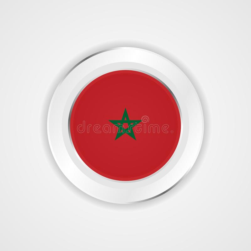 Bandera de Marruecos en icono brillante stock de ilustración