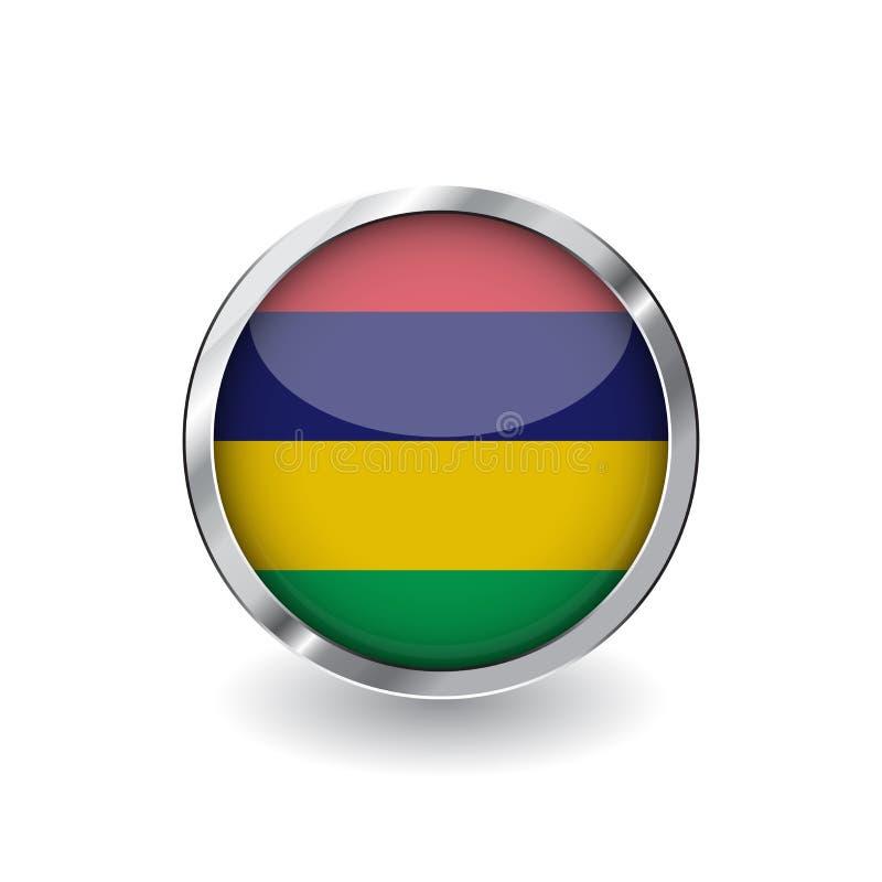 Bandera de Mauricio, botón con el marco metálico y la sombra icono del vector de la bandera de Mauricio, insignia con efecto bril ilustración del vector