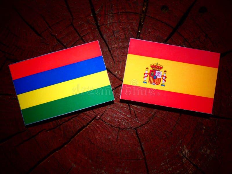 Bandera de Mauricio con la bandera española en un tocón de árbol fotografía de archivo
