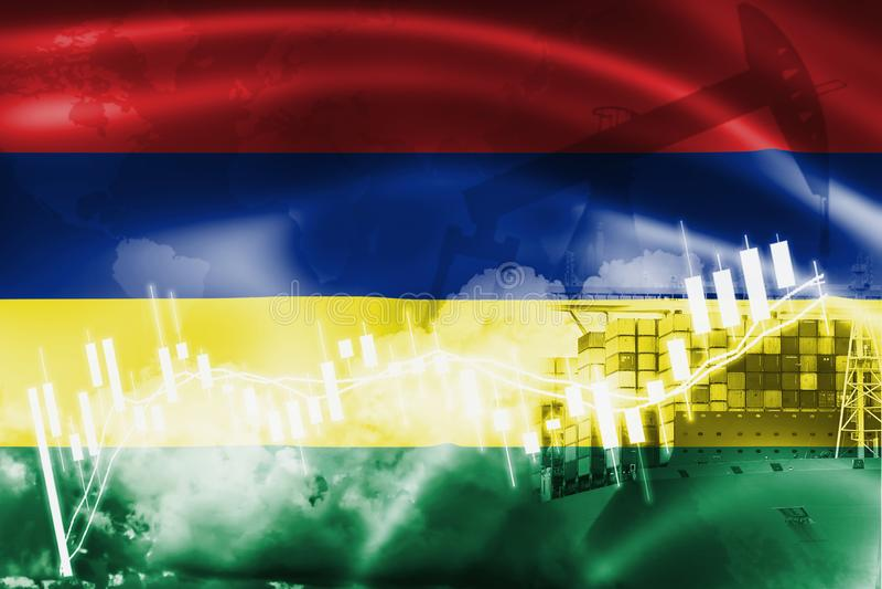 Bandera de Mauricio, mercado de acción, economía y comercio, producción petrolífera, del intercambio portacontenedores en negocio stock de ilustración