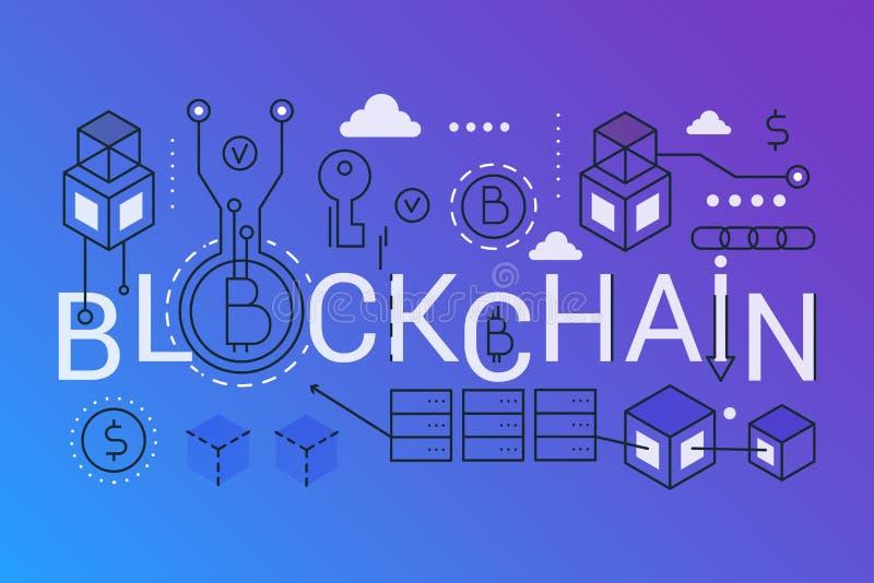 Bandera de moda del concepto de la composición de la palabra de Blockchain 2019 Resuma el bitcoin del movimiento, ethereum, tecno ilustración del vector