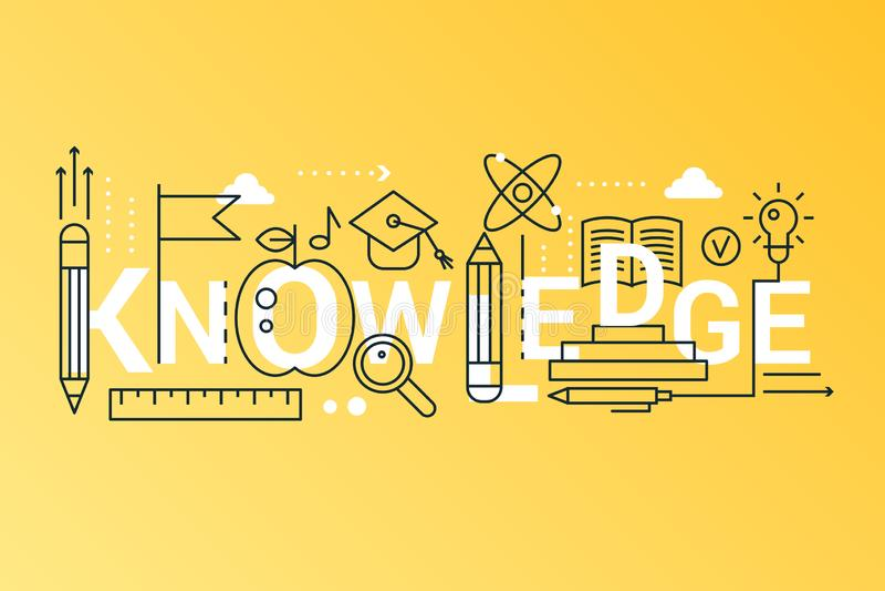 Bandera de moda del concepto de la composición de la palabra del conocimiento 2019 Resuma la ciencia del movimiento, la escuela,  ilustración del vector