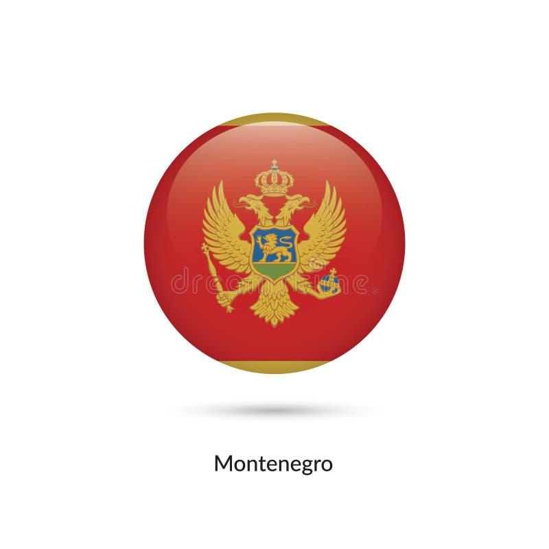 Bandera de Montenegro - botón brillante redondo libre illustration
