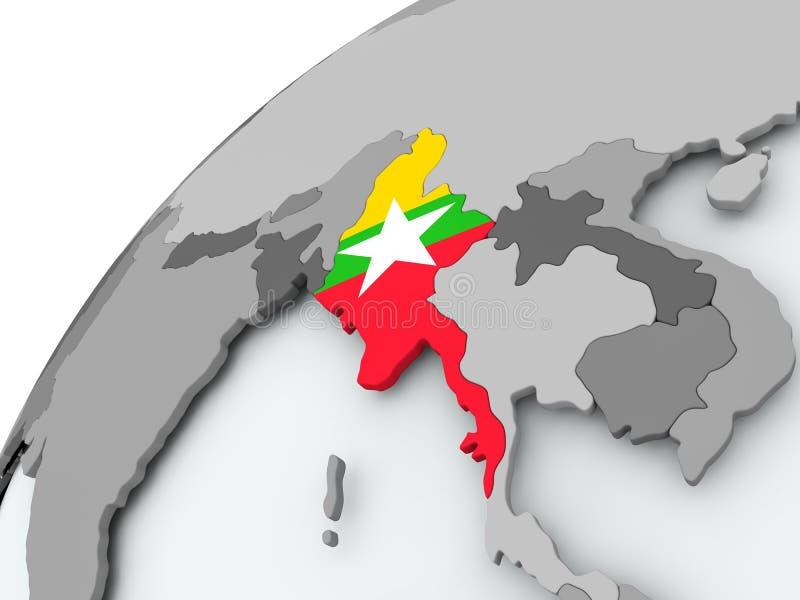 Bandera de Myanmar en el globo gris libre illustration