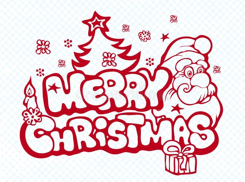 Bandera de Navidad con Santa ilustración del vector