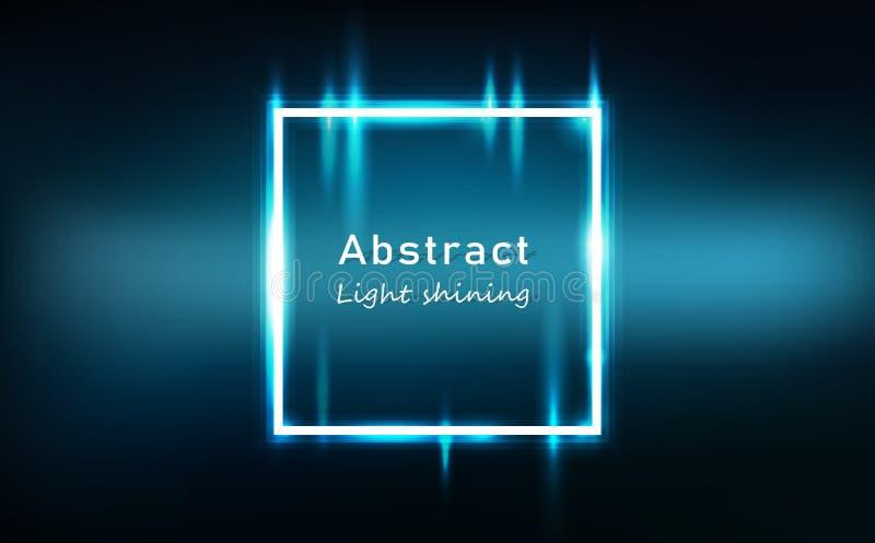 Bandera de neón abstracta ligera del marco de los cuadrados del efecto que brilla intensamente, ejemplo brillante brillante del v libre illustration