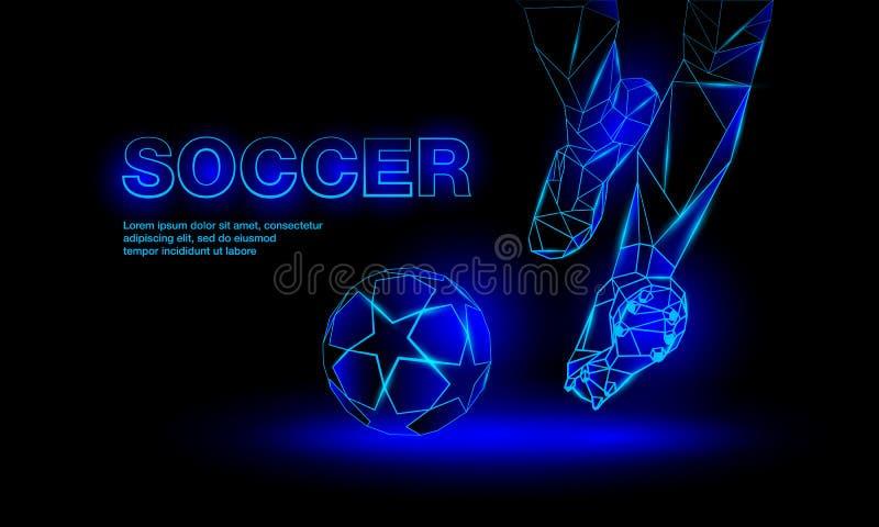 Bandera de neón azul del fútbol Ejemplo poligonal del saque de centro del fútbol libre illustration