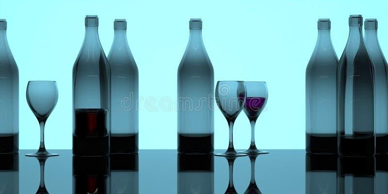 Bandera de neón de las botellas y de los vidrios ilustración del vector