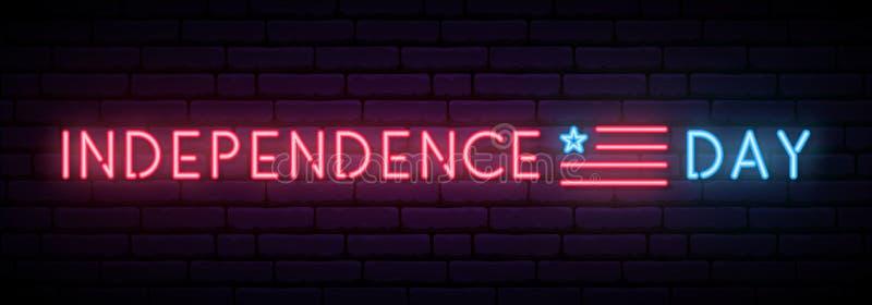 Bandera de neón larga para la celebración de los E.E.U.U. del Día de la Independencia libre illustration