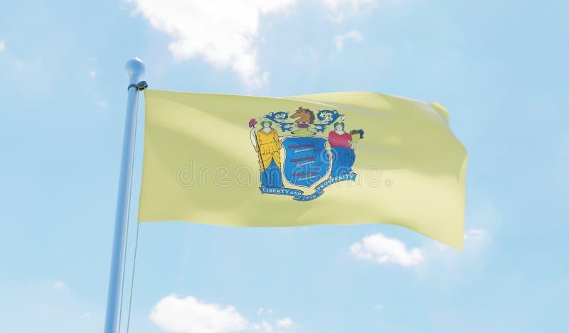 Bandera de New Jersey los E.E.U.U. que agita contra el cielo azul stock de ilustración