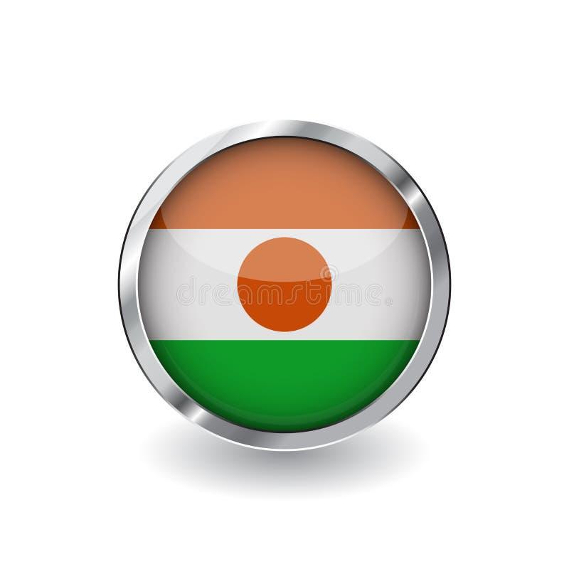 Bandera de Niger, botón con el marco metálico y la sombra icono del vector de la bandera de Niger, insignia con efecto brillante  ilustración del vector