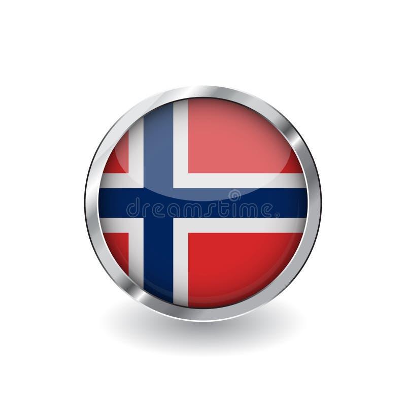 Bandera de Noruega, botón con el marco metálico y la sombra icono del vector de la bandera de Noruega, insignia con efecto brilla stock de ilustración