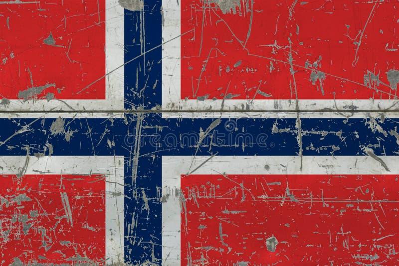 Bandera de Noruega del Grunge en vieja superficie de madera rasguñada Fondo nacional del vintage fotografía de archivo