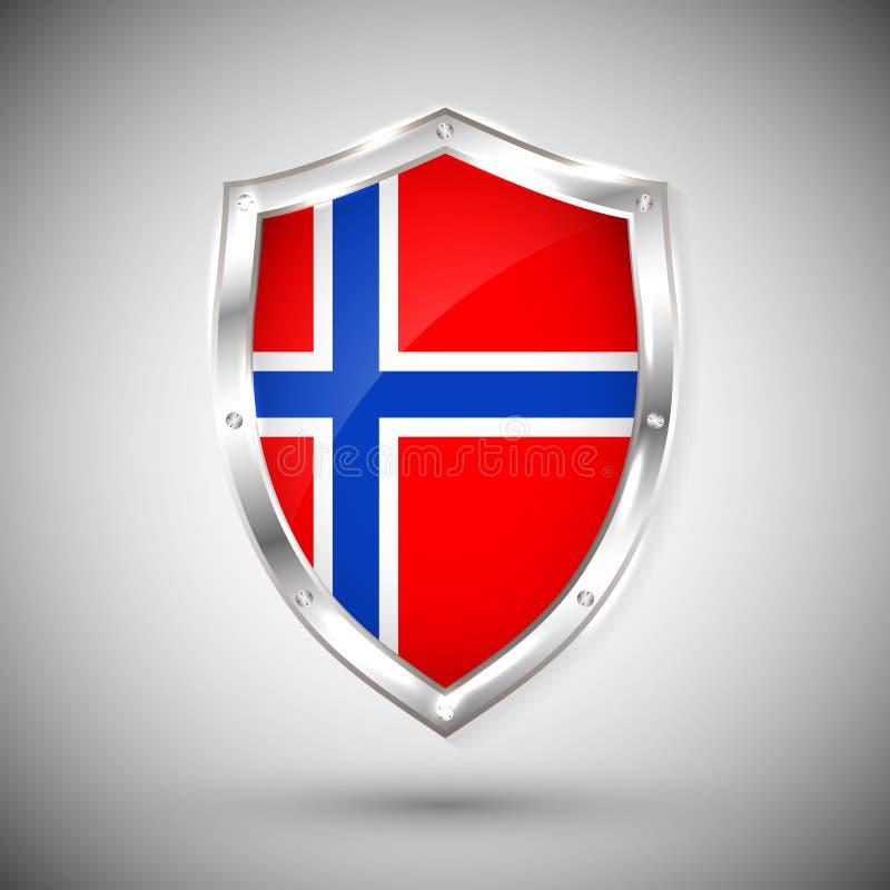 Bandera de Noruega en el ejemplo brillante del vector del escudo del metal Colección de banderas en el escudo contra el fondo bla libre illustration