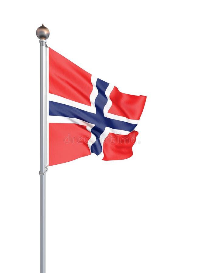 Bandera de Noruega que sopla en el viento Textura del fondo 3d representaci?n, onda A mano Aislado en blanco libre illustration