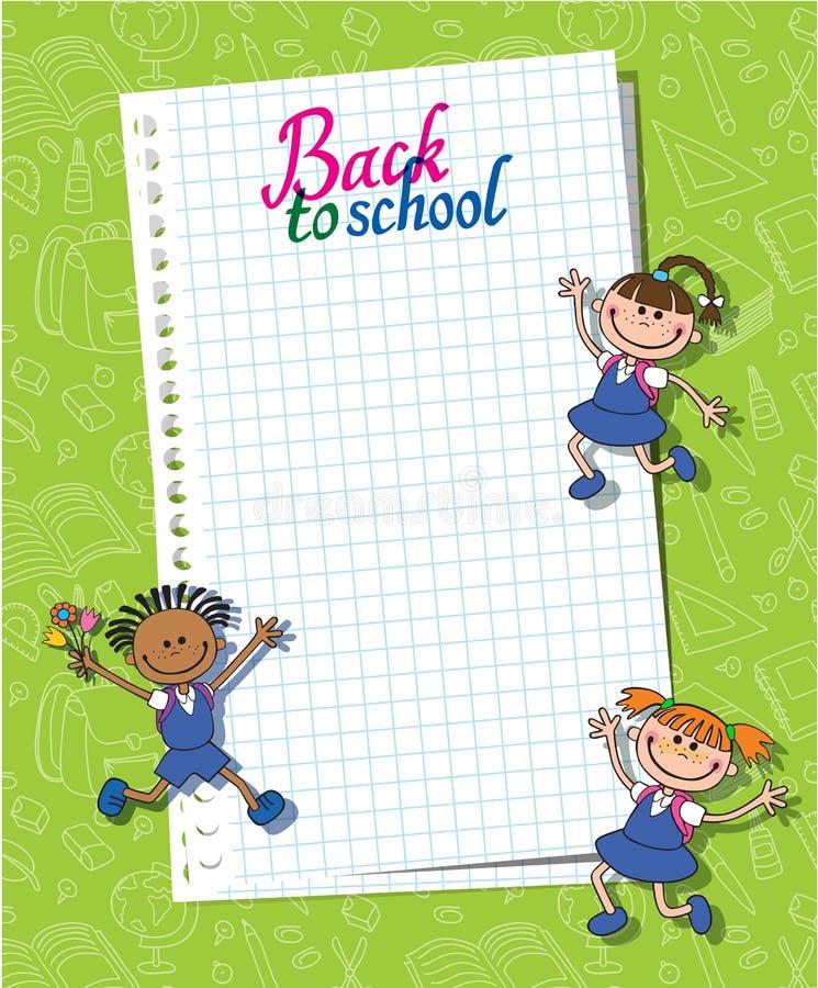 Bandera de nuevo a logotipo de las letras del alumno de la muchacha del escolar libre illustration