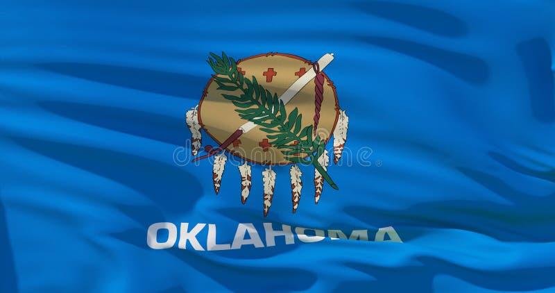 Bandera de Oklahoma en la textura de la tela, estilo retro del vintage stock de ilustración