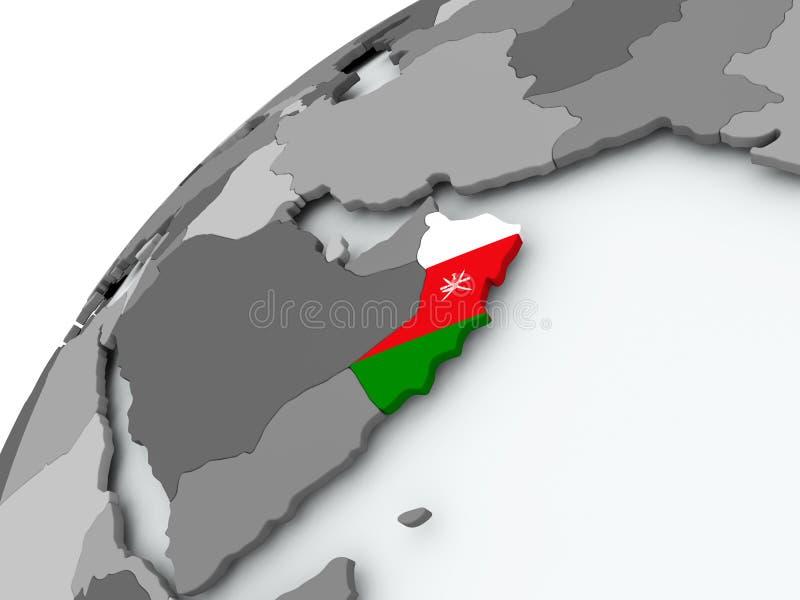 Bandera de Omán en el globo gris ilustración del vector
