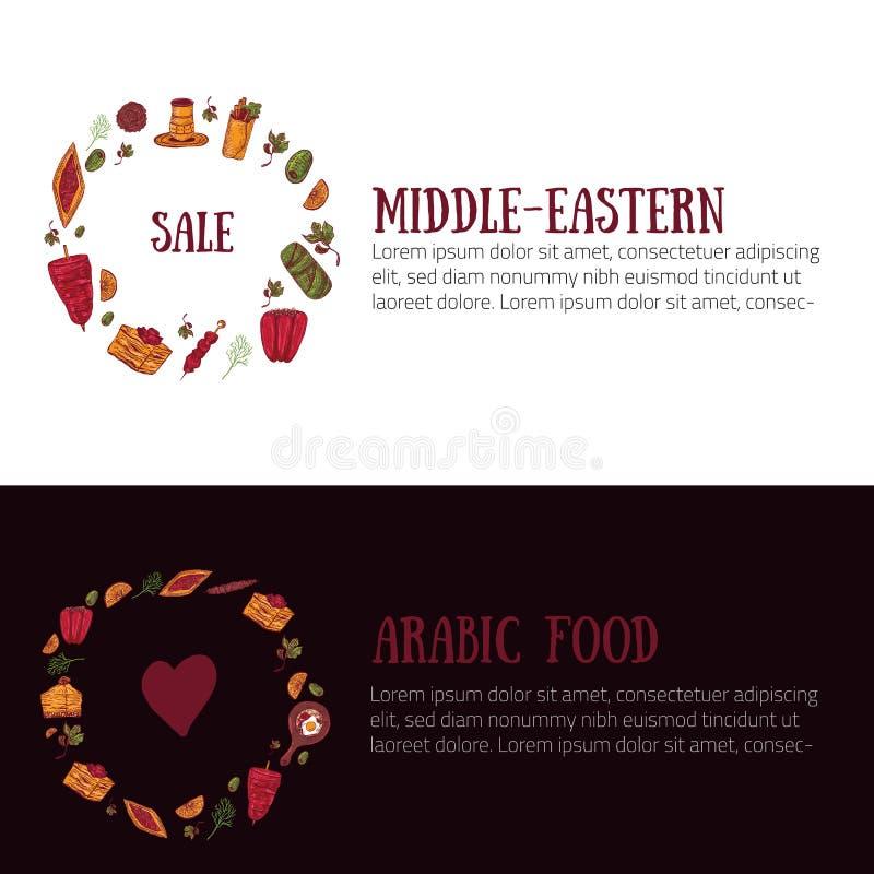Bandera de Oriente Medio moderna del menú fijada en estilo del bosquejo con el kebab, Dolma, Shakshuka, shisha Garabatos a pulso  stock de ilustración