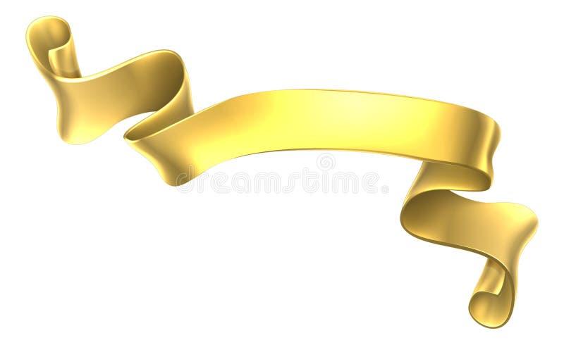 Bandera de oro de la voluta ilustración del vector