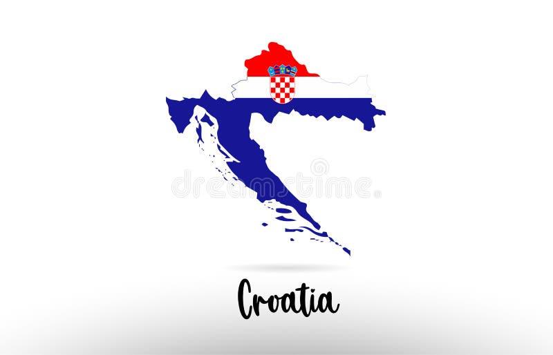 Bandera de país de Croacia dentro del logotipo del icono del diseño del contorno del mapa stock de ilustración