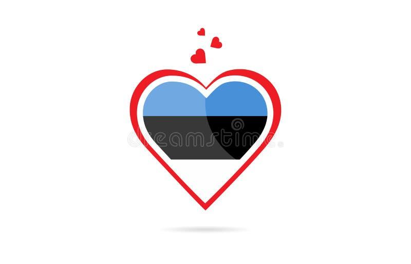 Bandera de país de Estonia dentro del diseño creativo del logotipo del corazón del amor libre illustration
