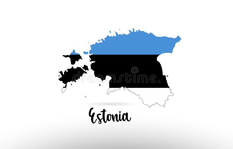 Bandera de país de Estonia dentro del logotipo del icono del diseño del contorno del mapa ilustración del vector