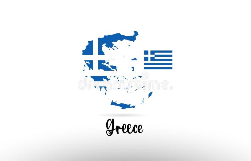 Bandera de país de Grecia dentro del logotipo del icono del diseño del contorno del mapa stock de ilustración