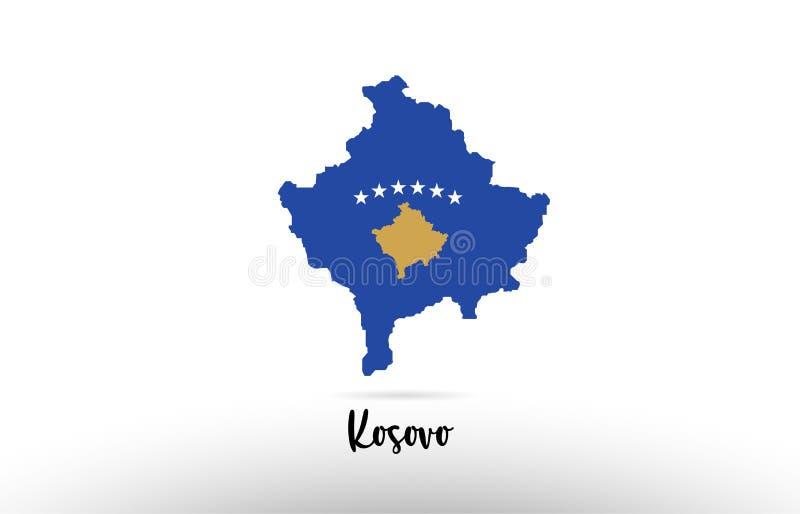 Bandera de país de Kosovo dentro del logotipo del icono del diseño del contorno del mapa stock de ilustración