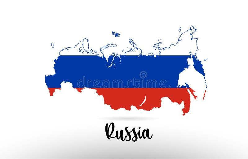 Bandera de país de Rusia dentro del logotipo del icono del diseño del contorno del mapa stock de ilustración