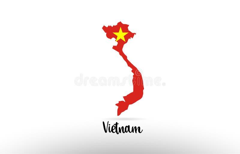 Bandera de país de Vietnam dentro del logotipo del icono del diseño del contorno del mapa ilustración del vector