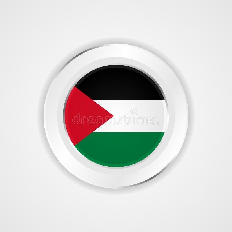 Bandera de Palestina en icono brillante stock de ilustración