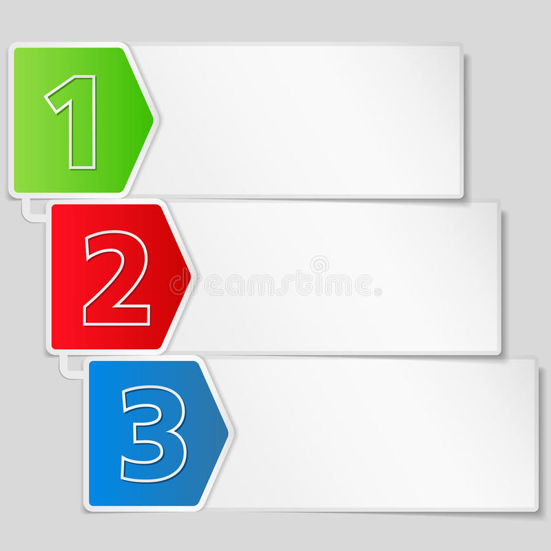 Bandera de papel con tres pasos de progresión libre illustration