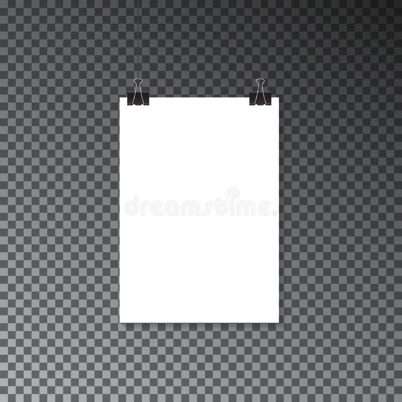 Bandera de papel en el cartel de la pared Plantilla del cartel de la maqueta de la publicidad libre illustration