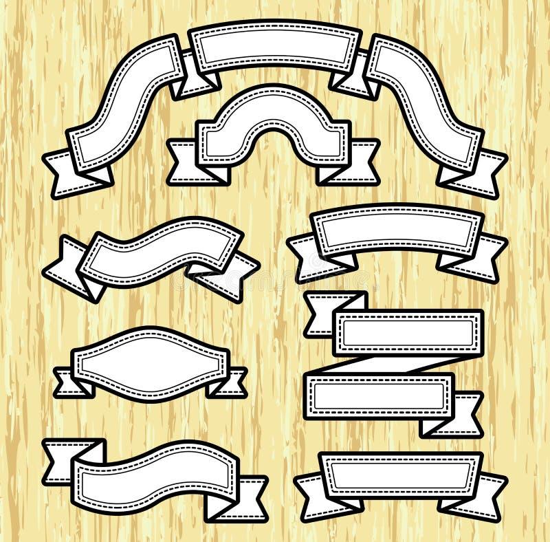 Bandera de papel fijada en el fondo de madera ilustración del vector