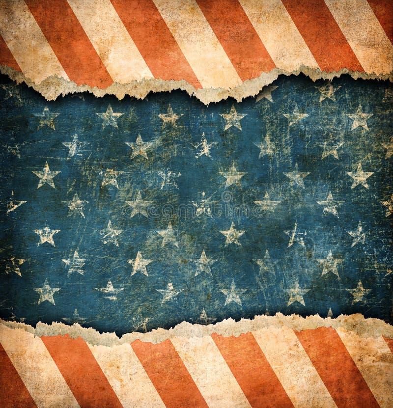 Bandera de papel rasgada Grunge de los E.E.U.U. stock de ilustración