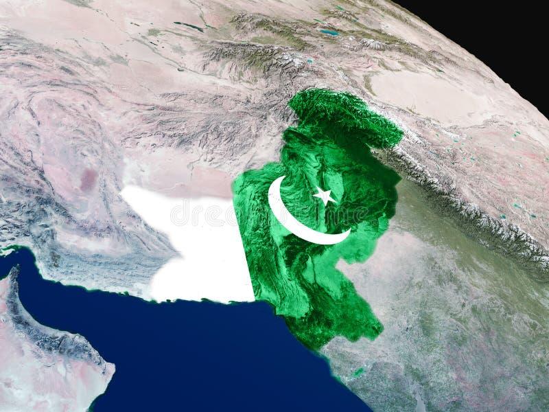 Bandera de Paquistán del espacio stock de ilustración