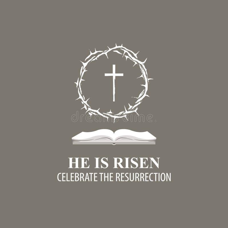 Bandera de Pascua con la corona de espinas, de la cruz y del libro libre illustration
