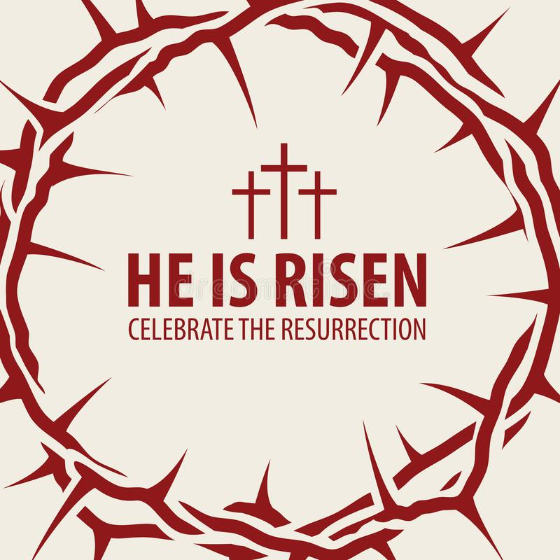 Bandera de Pascua con la corona de espinas y de la inscripción ilustración del vector