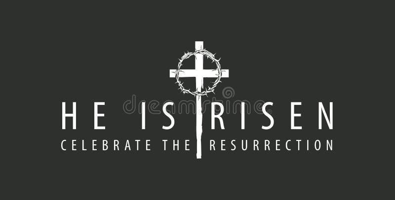 Bandera de Pascua con la cruz y la corona de espinas stock de ilustración