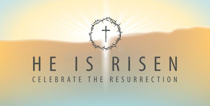 Bandera de Pascua con una cruz y una inscripción brillantes stock de ilustración