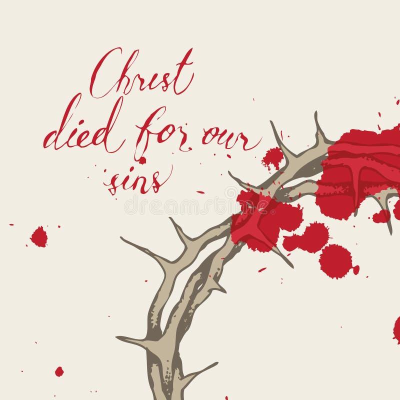 Bandera de Pascua del vector Cristo murió por nuestros pecados libre illustration